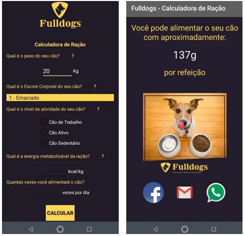 Fulldogs lança aplicativo gratuito para calcular a quantidade de ração para os cães