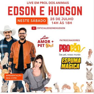 Empresas do setor pet se unem pela causa animal em live da dupla Edson e Hudson